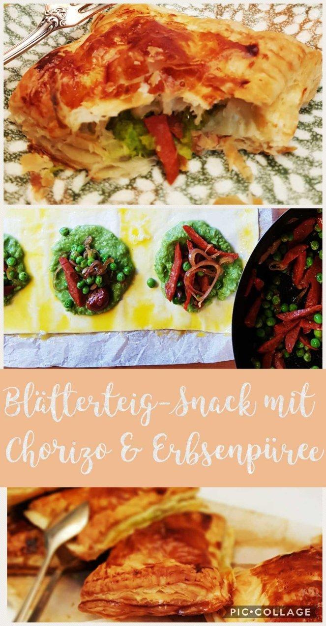 blätterteig mit Chorizo und Erbsenpüree - zum Lunch für Unterwegs beim Picknick Fastfood .jpg