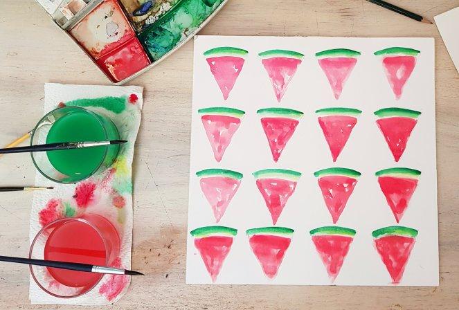 Wassermelonenstücke für Wimpelkette malen aquarell.jpg
