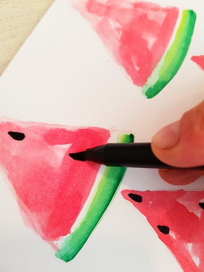 Kerne malen Wassermelone aquarell Filzsstiftjpg
