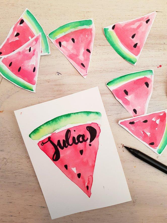 Wassermelone aqurell malen und beschriftenjpg