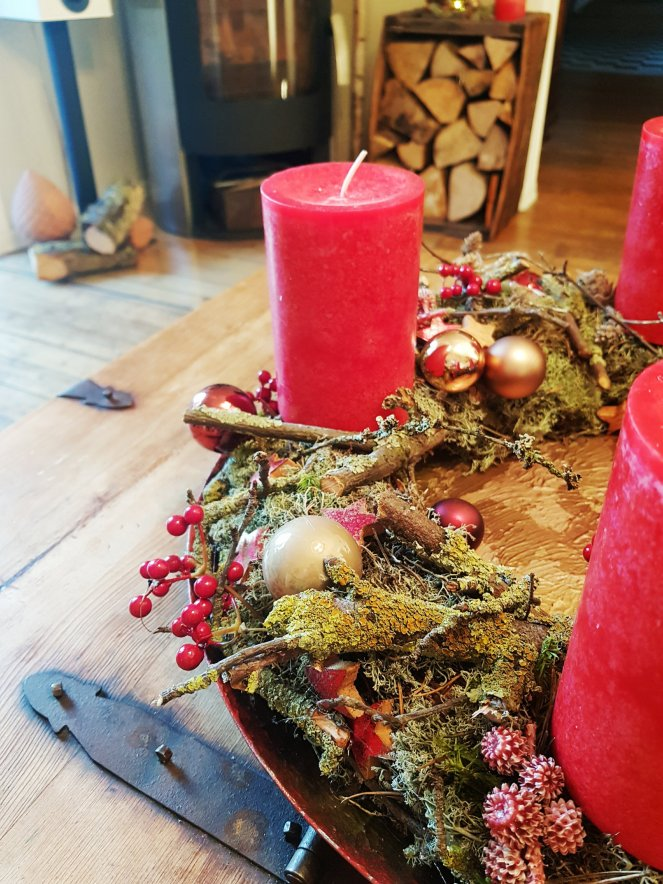 Adventkranz in rot - DIY