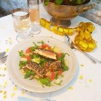 Grüntee-Lachs auf Grapefruit und Ingwer